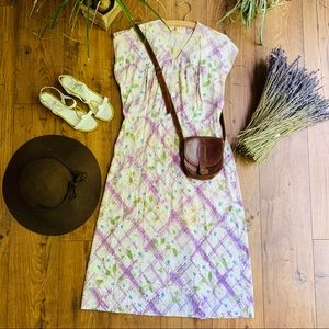 Vintage 1940s Cotton Day Dress with Basket Print